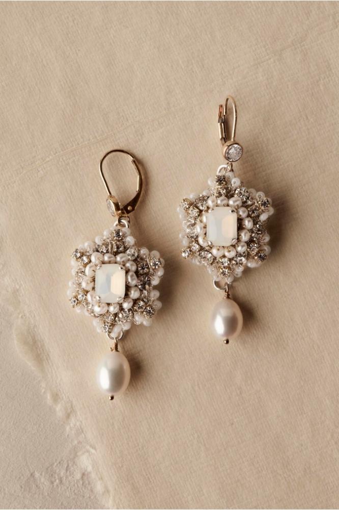 BHLDN Gold Wedding Earrings | Crochet Lace, Crystal & Pearl Earrings