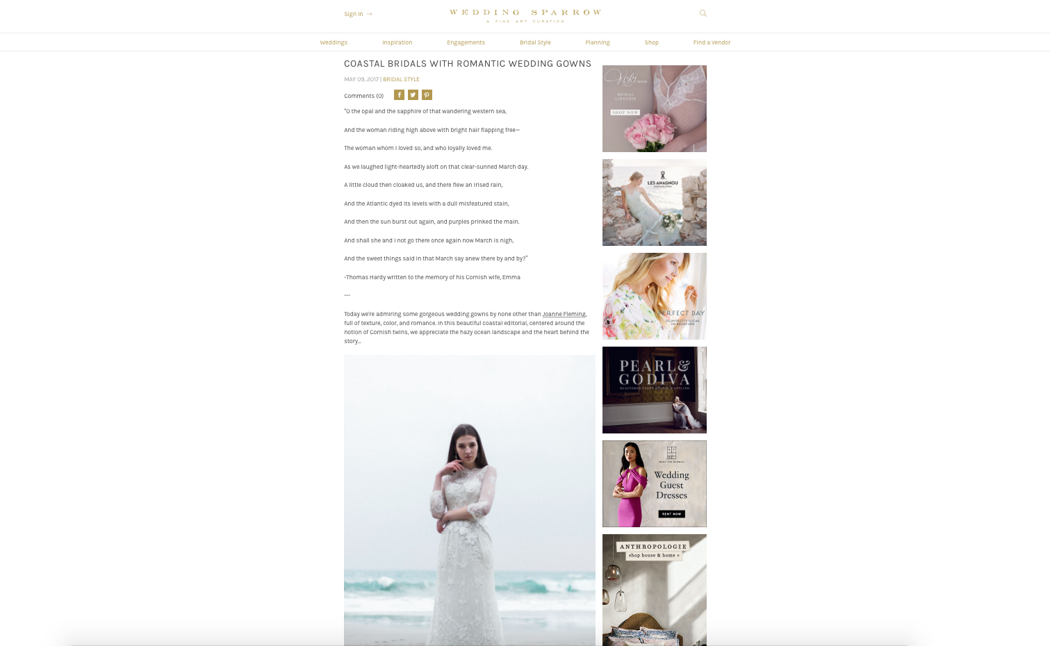 "Edera Jewelry ""Lilliane"" and ""Acanthus"" earrings featured on  Wedding Sparrow ."