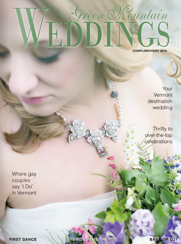 Edera 'Sonnet' Necklace featured on the cover of Green Mountain Weddings Magazine