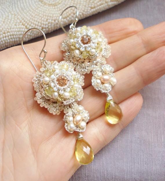 Detail of Marni's Custom Bridal Earrings