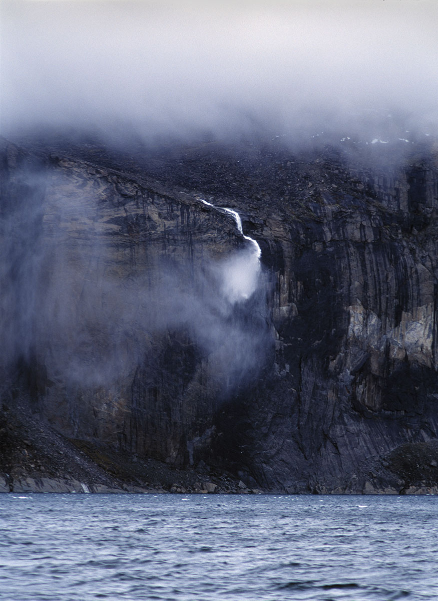 disappearing waterfall, Baffin Island