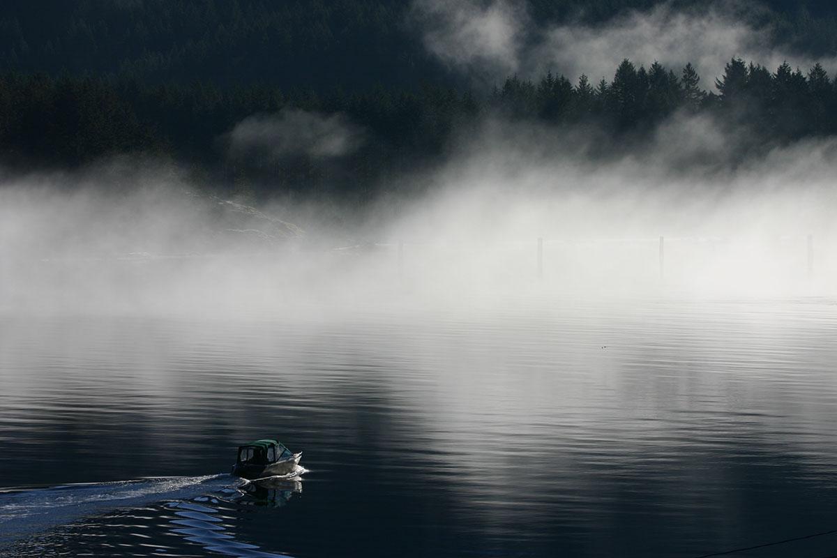 boat leaving harbor, Tahsis, Vancouver Island