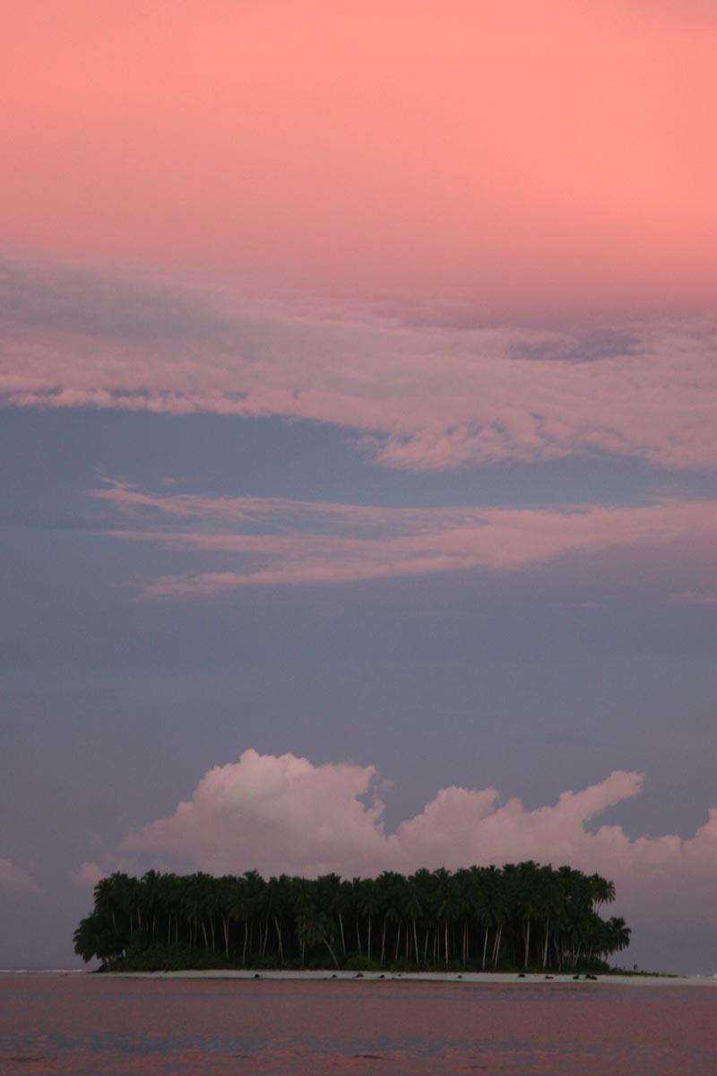 atoll at sunset