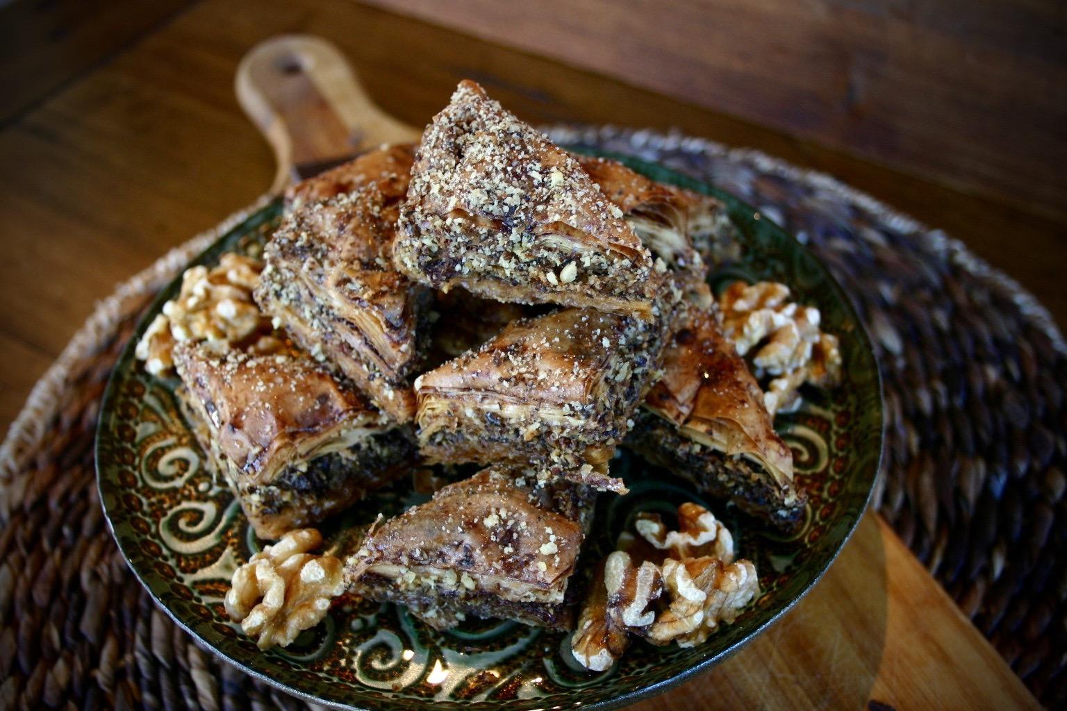 Chocolate Walnut Baklava