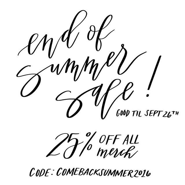 25% off everything except calligraphy services!!