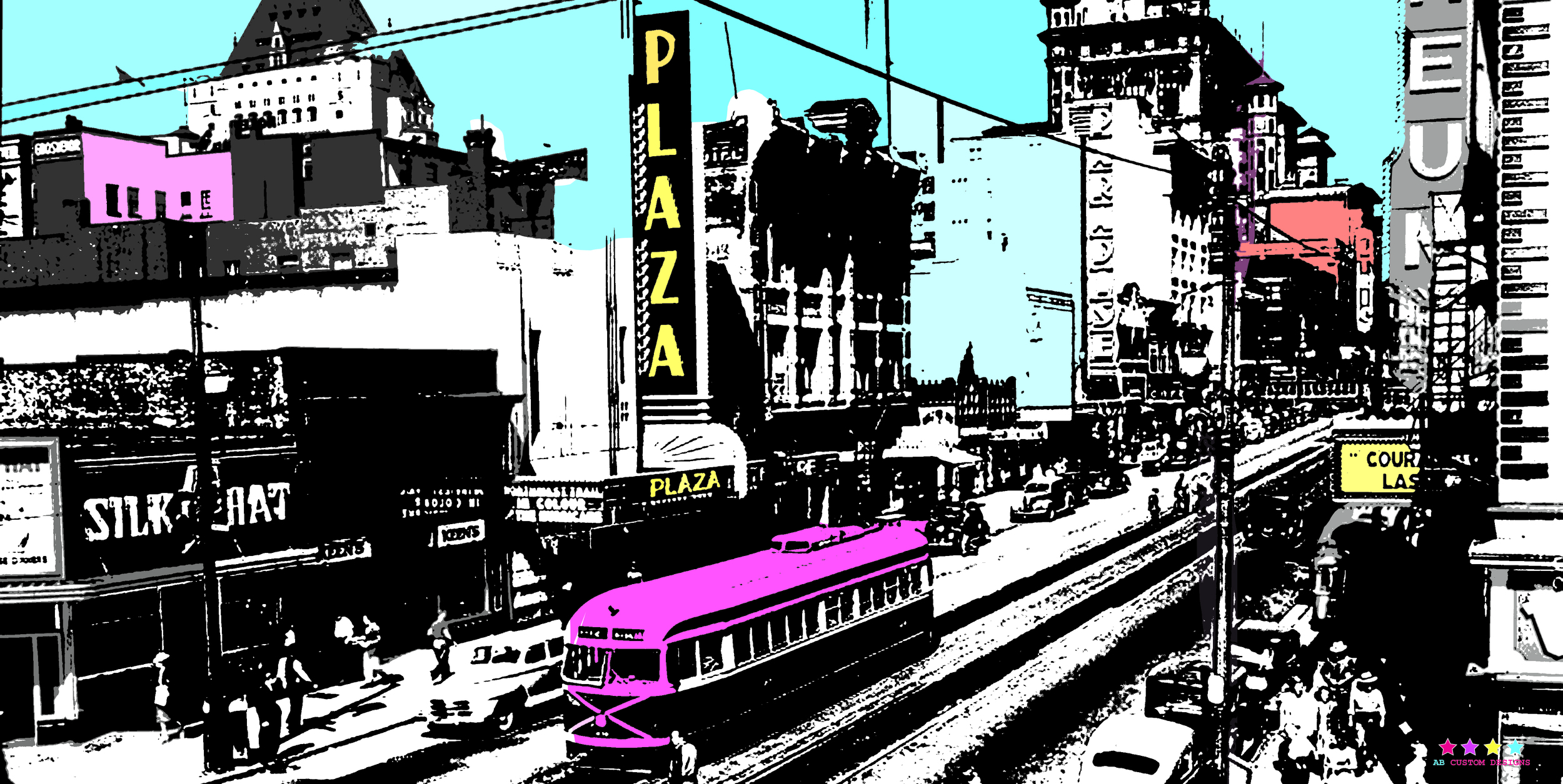 "Granville Street 24""x48"". Fine Art Photography on Plexiglas. & Printer's Proof Available 24""x48"" framed."