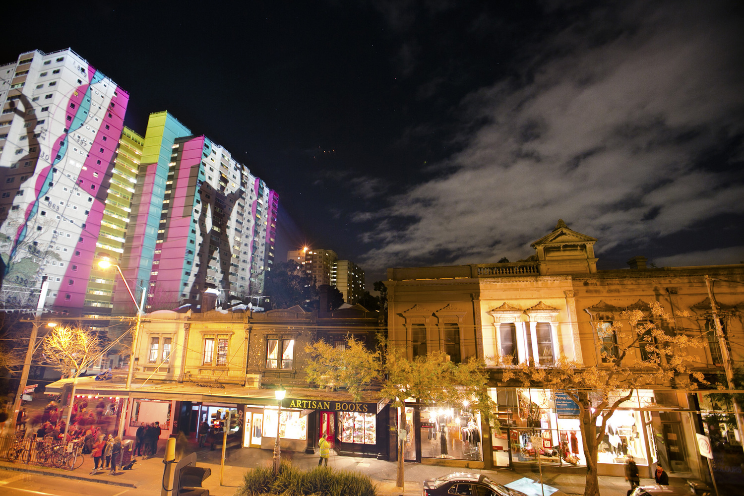 Ephemeral Museum,  Light work installation, The Atherton Gardens Estate, Fitzroy, Gertrude Street Projection Festival, 2012. Photo: James HH Morgan