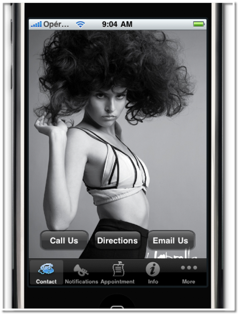 A screen shot of app's Welcome Page for Umbrella Salon in San Jose, CA. Hair by Kien Hoang
