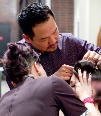 At Umbrella Salon in San Jose, California, owner Kieng Hoang uses every opportunity to mentor an associate, including preparing a model for a fashion show or an atelier.