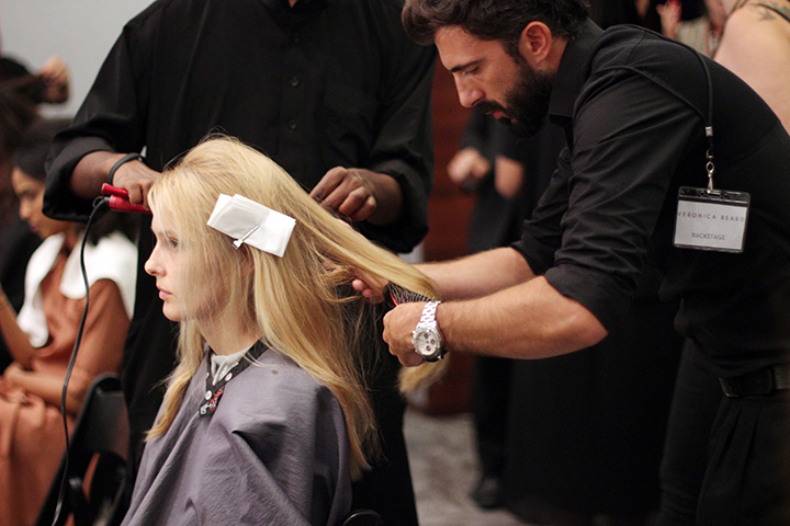 VERONICA BEARD | BACKSTAGE NYFW | SS 2015 | ORIBE HAIR CARE  Key Hair: Rutger. Hair: Oribe Hair Care Team. Anjelika Martinez for Umbrella Salon.  Special Thanks to Talia Thomas of Oribe Hair Care.  Photo courtesy of Oribe.com