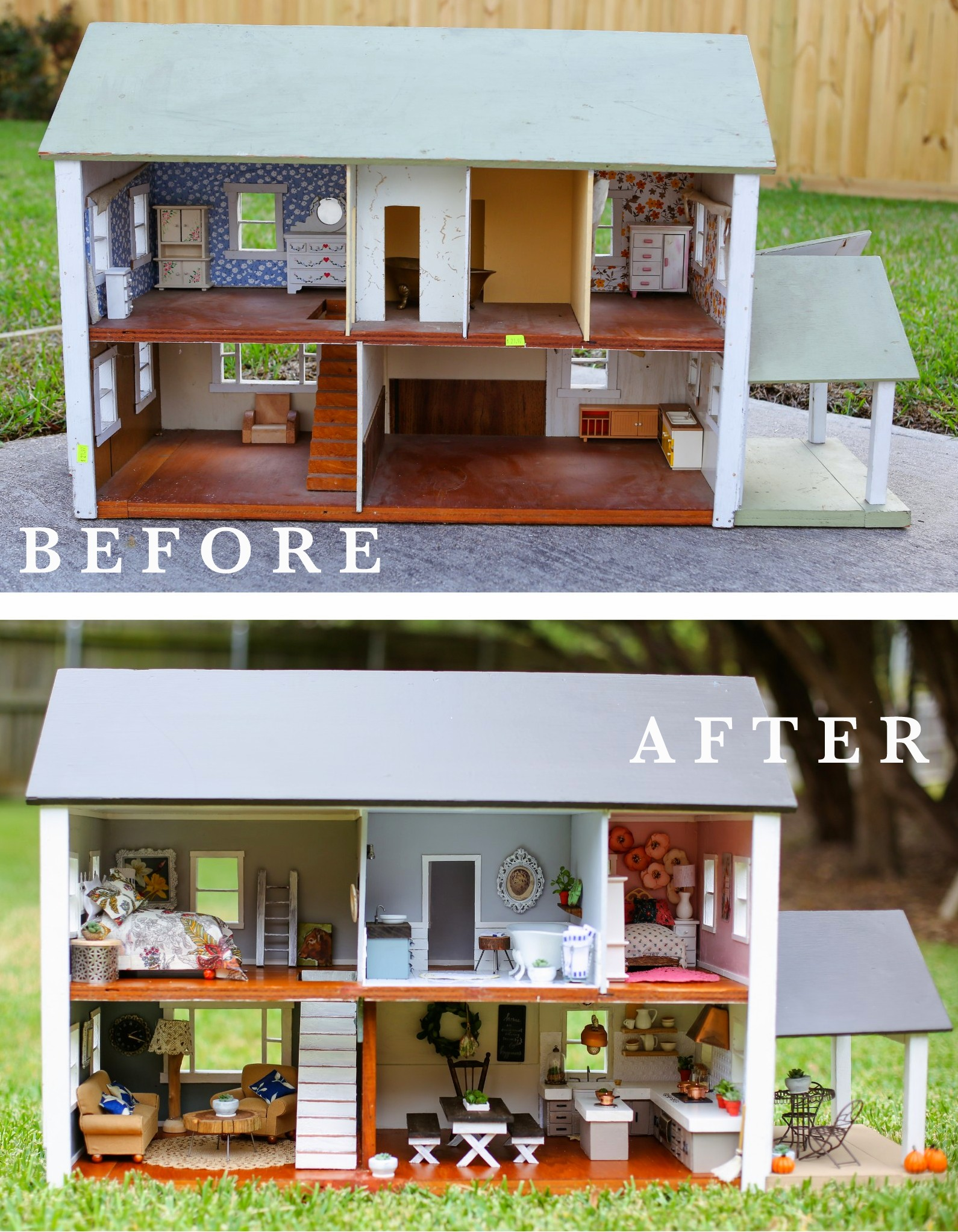FIXER UPPER DOLLHOUSE BEFORE AND AFTER