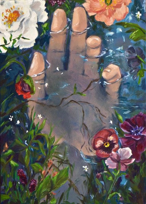 """Ophelia"" acrylic & oil on clay panel, 2019."