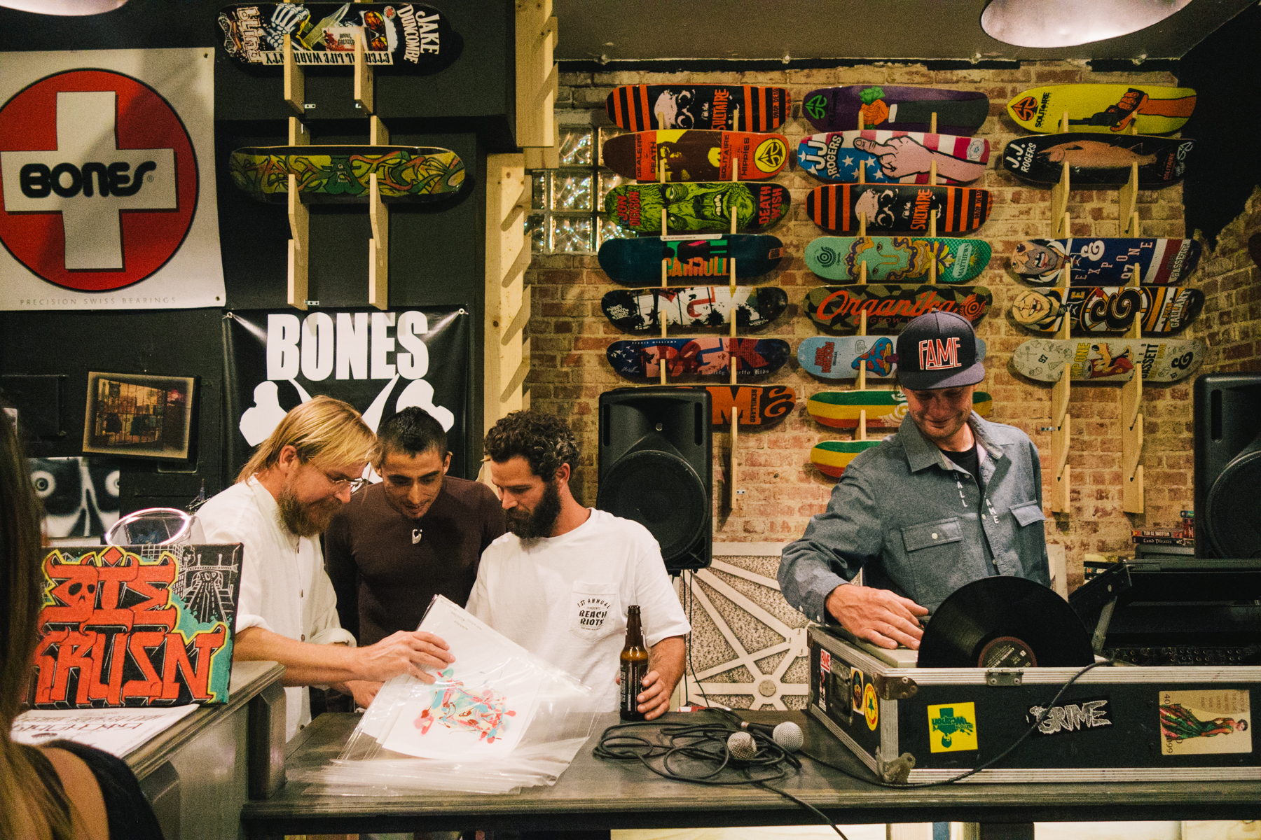 Chad Muska, Paulo Diaz, Sean Tully, and Eric Pupecki at Krusin Skate Shop. pic by MorGnar