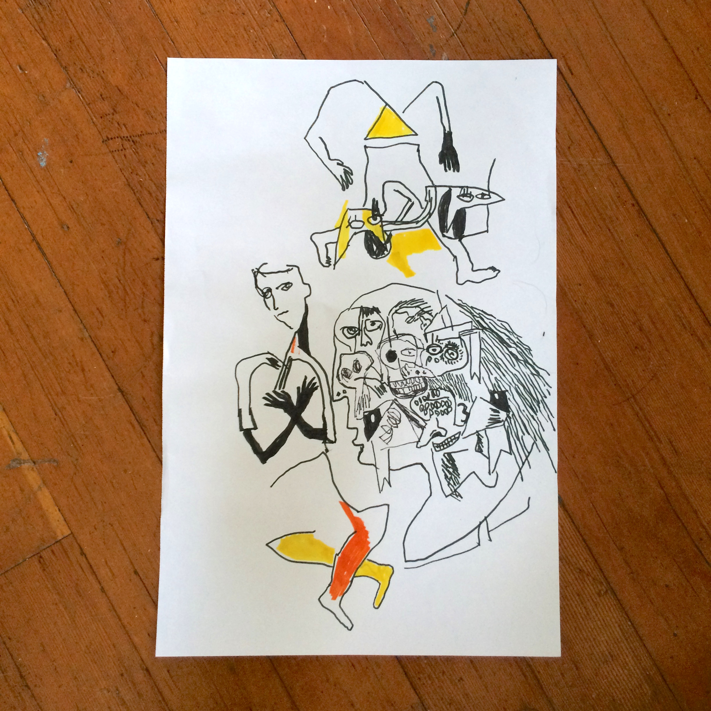 Gino Perez, Untitled (Doodle), 2002, marker on paper, 18 x 12 inches, $150