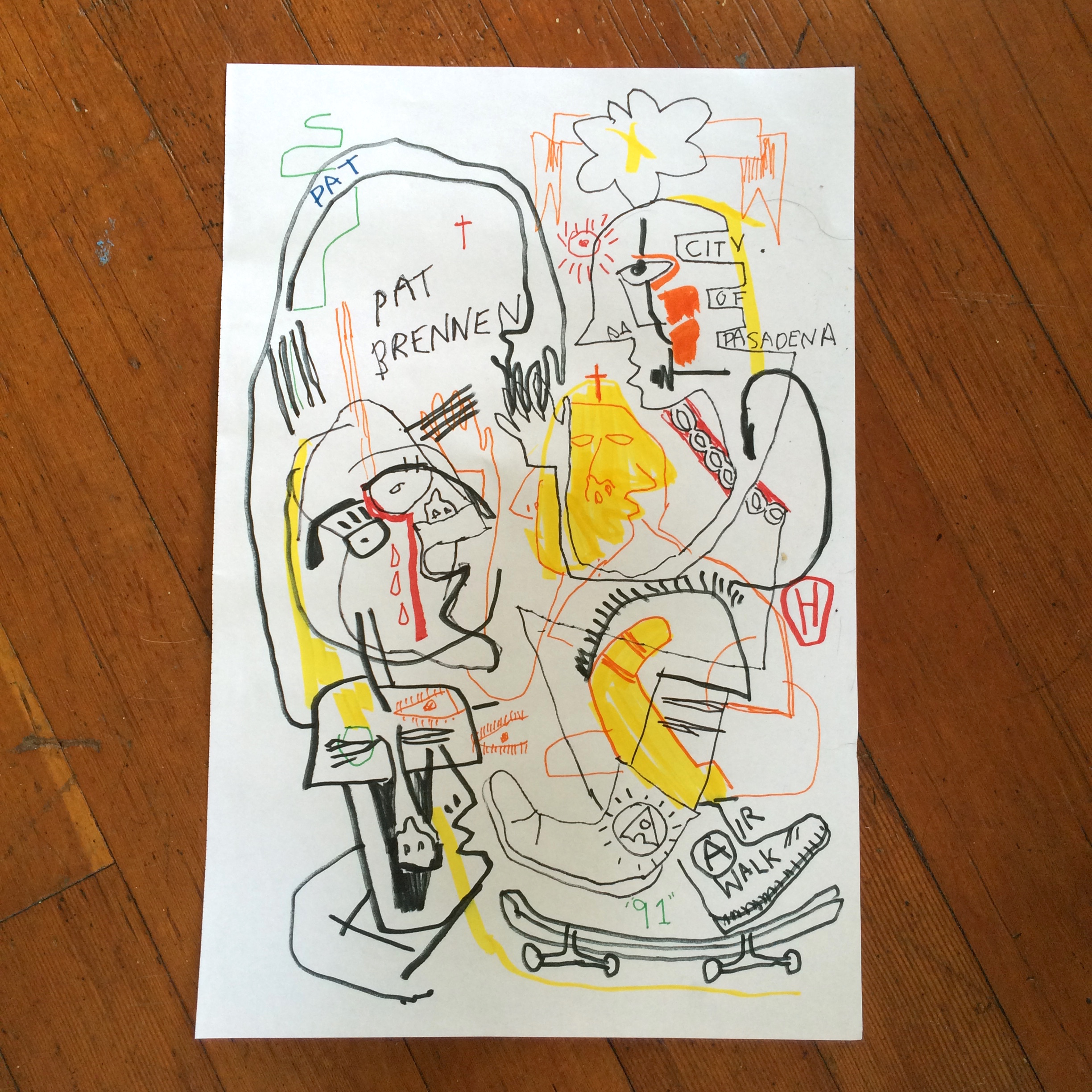 Gino Perez, Untitled (Pat Brennen #2), 2002, marker on paper, 18 x 12 inches, $150
