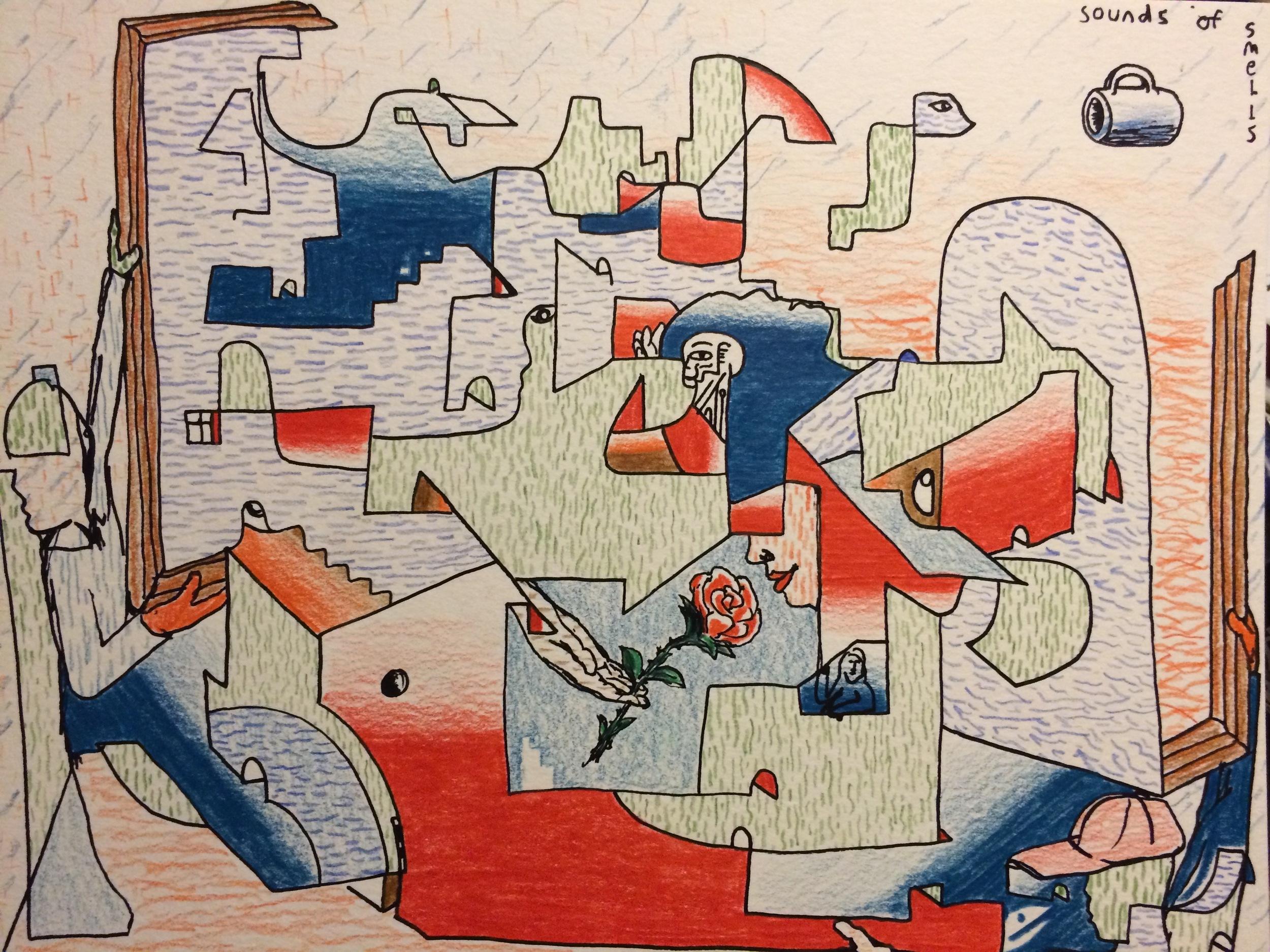Alex Fatemi Sounds Of Smells, 2015 Color pencil on paper 9 x 12 inches $120