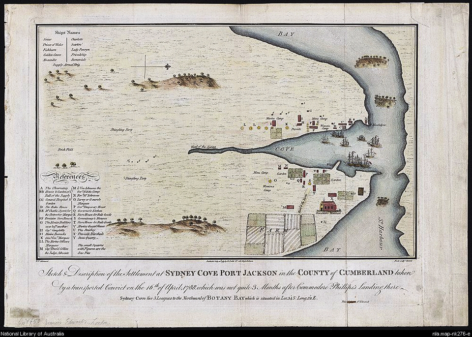Fowkes, Francis. Sketch & description of the settlement at Sydney Cove Port Jackson in the County of Cumberland taken by a transported convict on the 16th of April, 1788, which was not quite 3 months after Commodore Phillips's landing there.