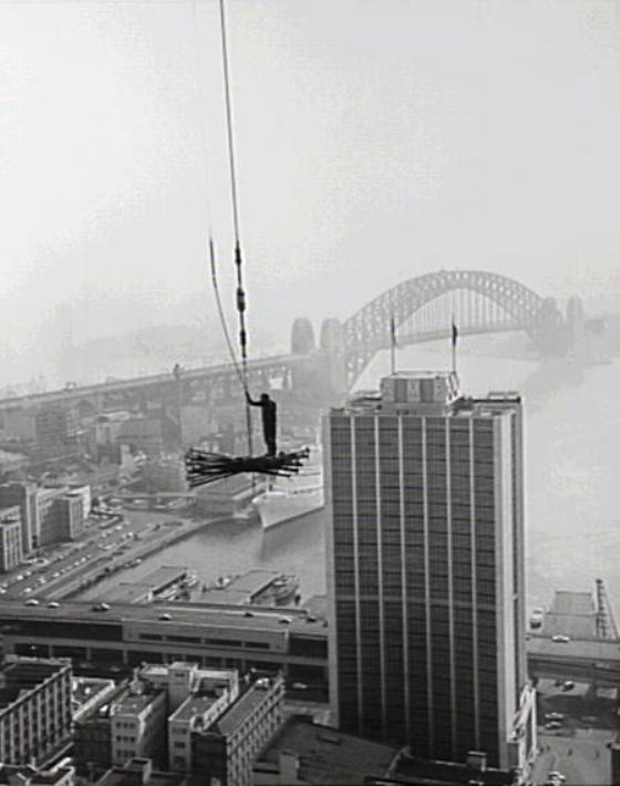 The AMP building and Harbour Bridge 1960. a026384