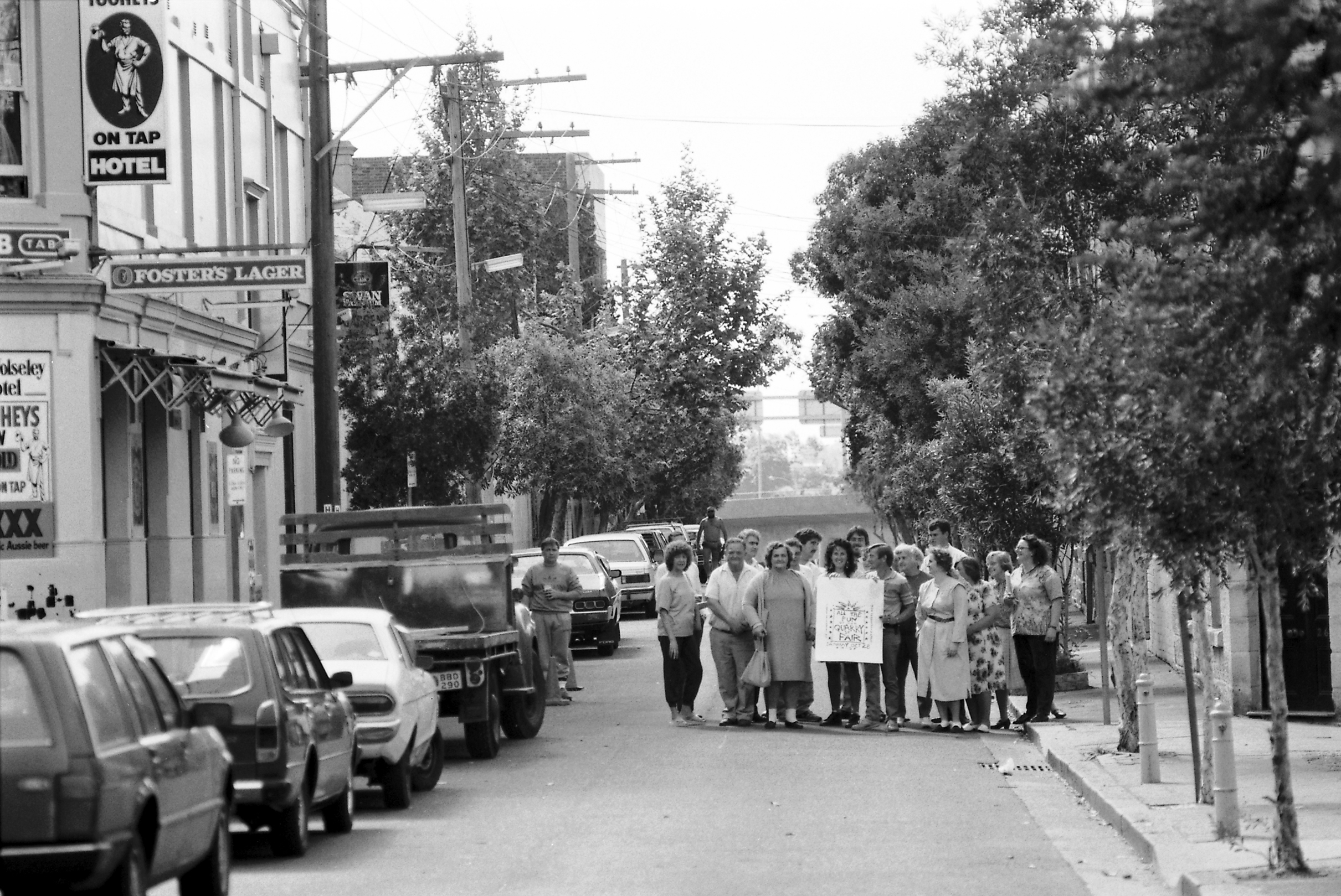 Locals supporting the Quarry St Fair in 1989