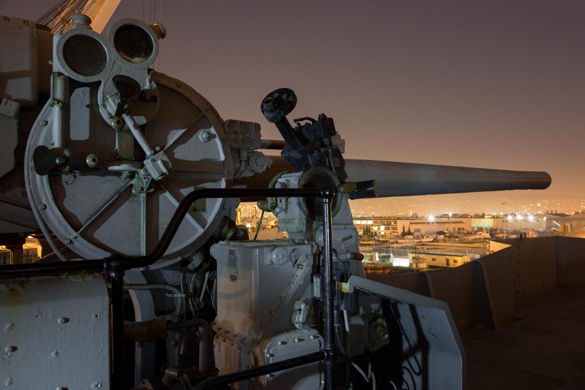 "5""/.38 caliber guns     USS Hornet Museum     Alameda"