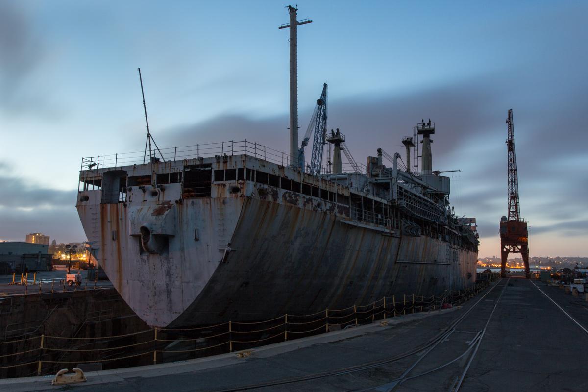 Docked at Mare Island Ship Yard, taken during twilight