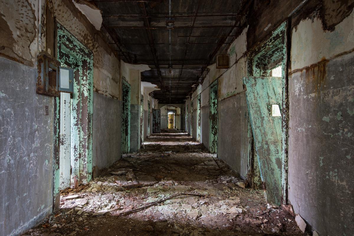 Corridor inside the Walker Building at Central State Hospital, Georgia.