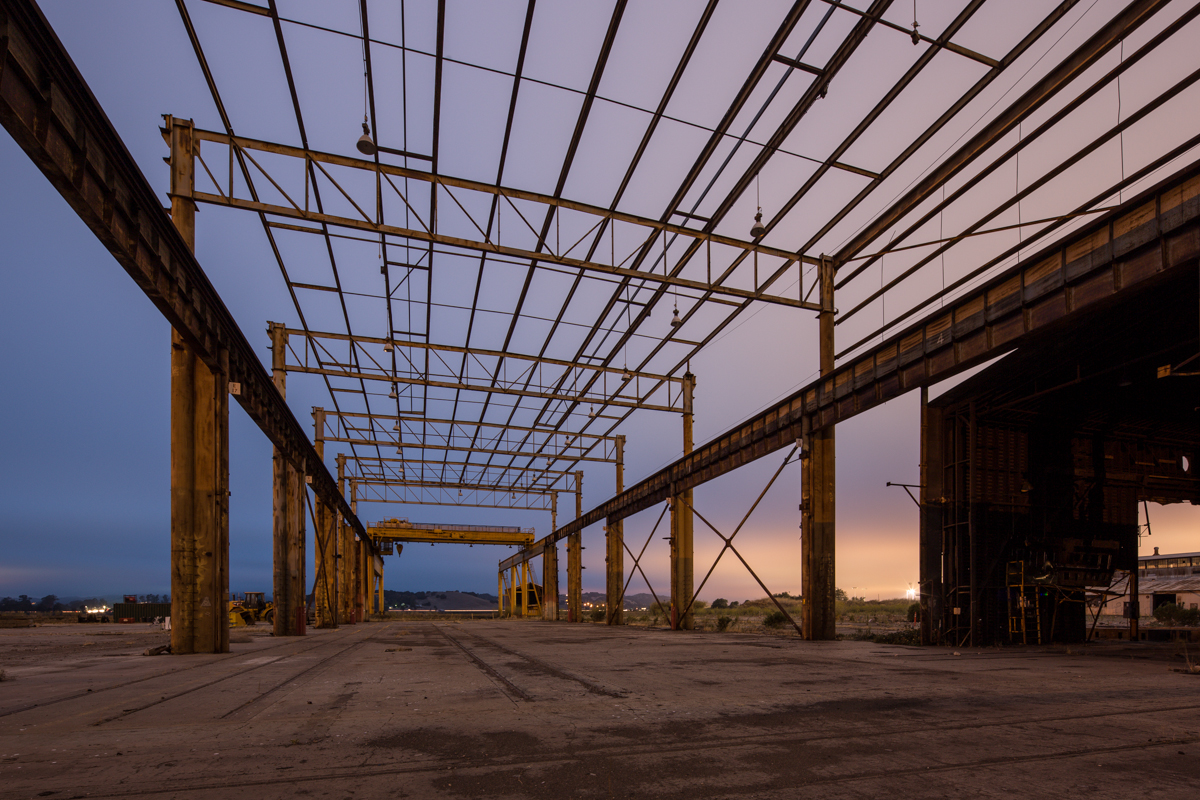 Former California based pipe factory during blue hour