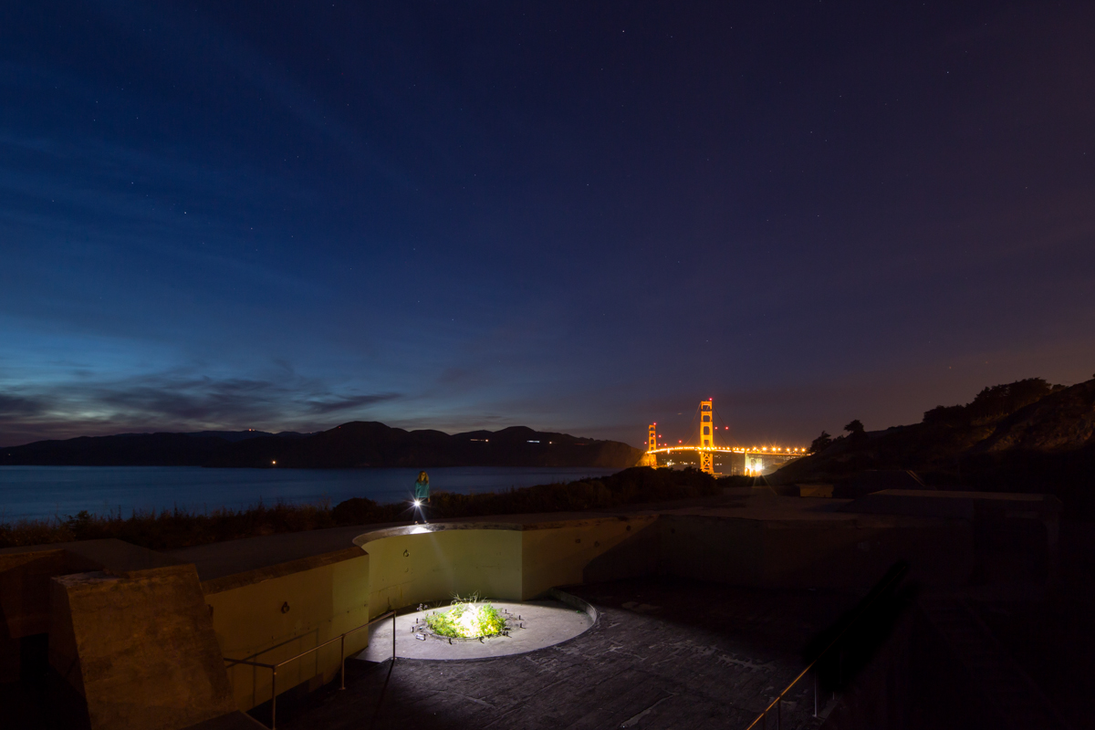 Battery Godfrey, San Francisco 15 seconds, f/9 @ ISO 1000 - Flashlight remained on for the duration of the exposure.