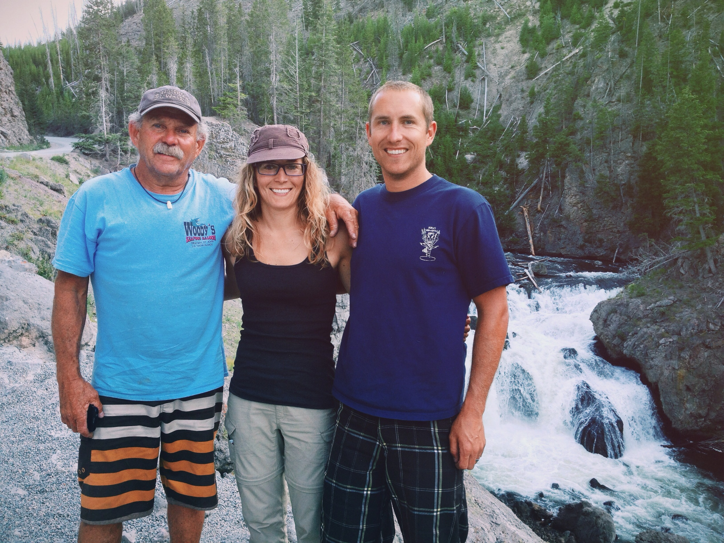 With my Dad and brother at Firehole Falls