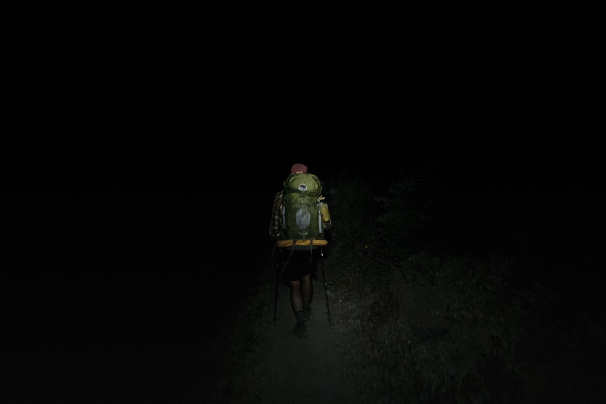 Night hiking.