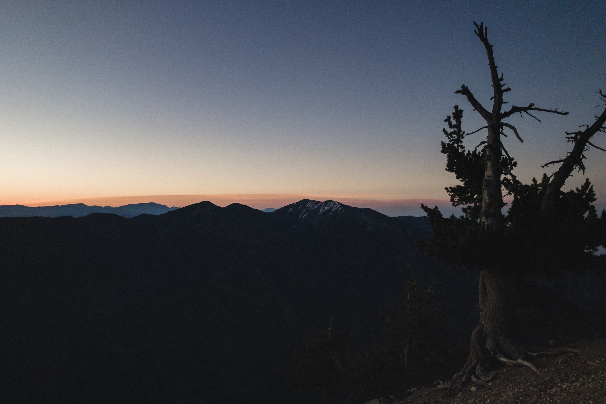 Sun rising on top of Mt. Baden-Powell.