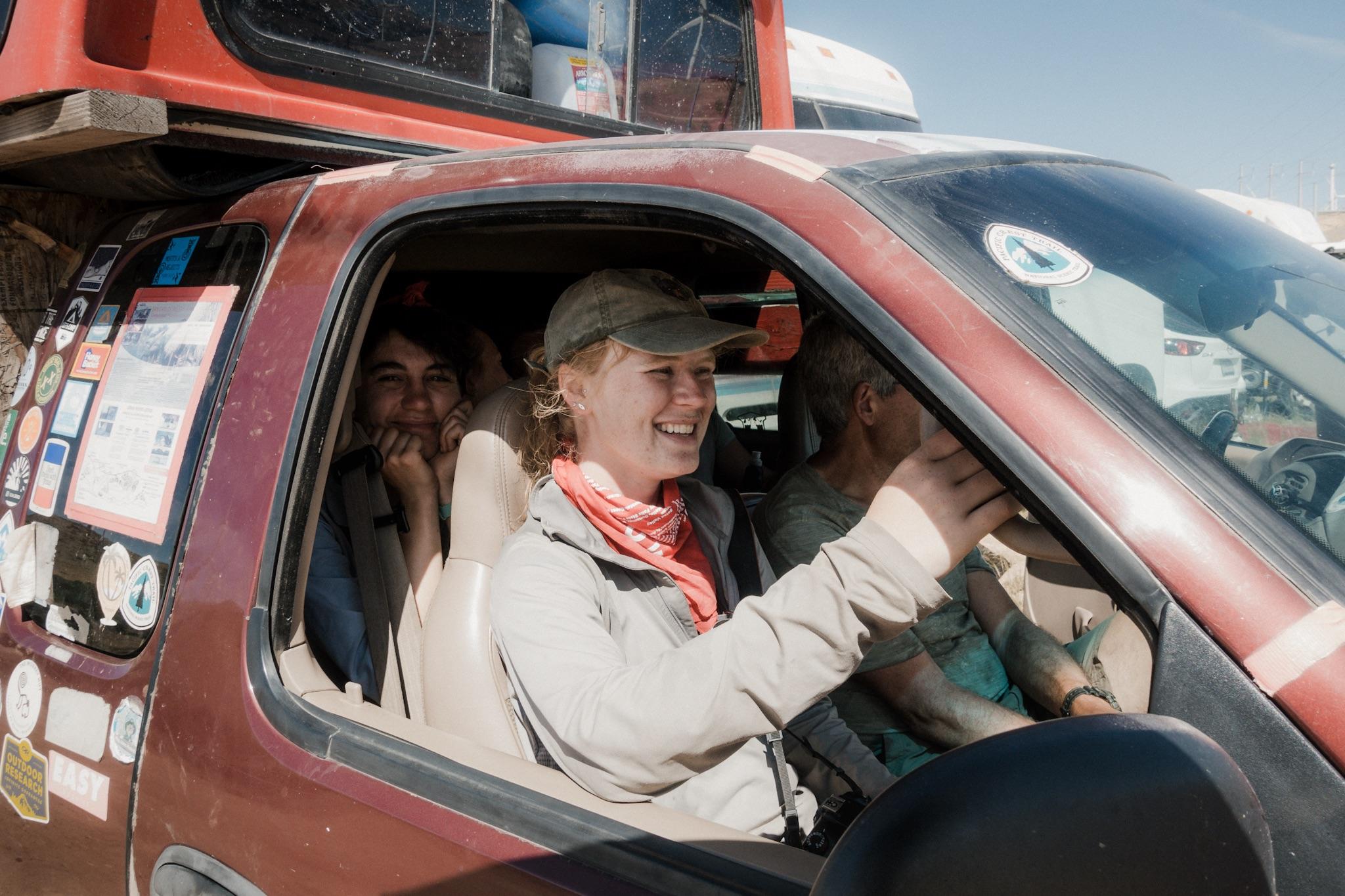 Girls getting a ride in Legend's truck.