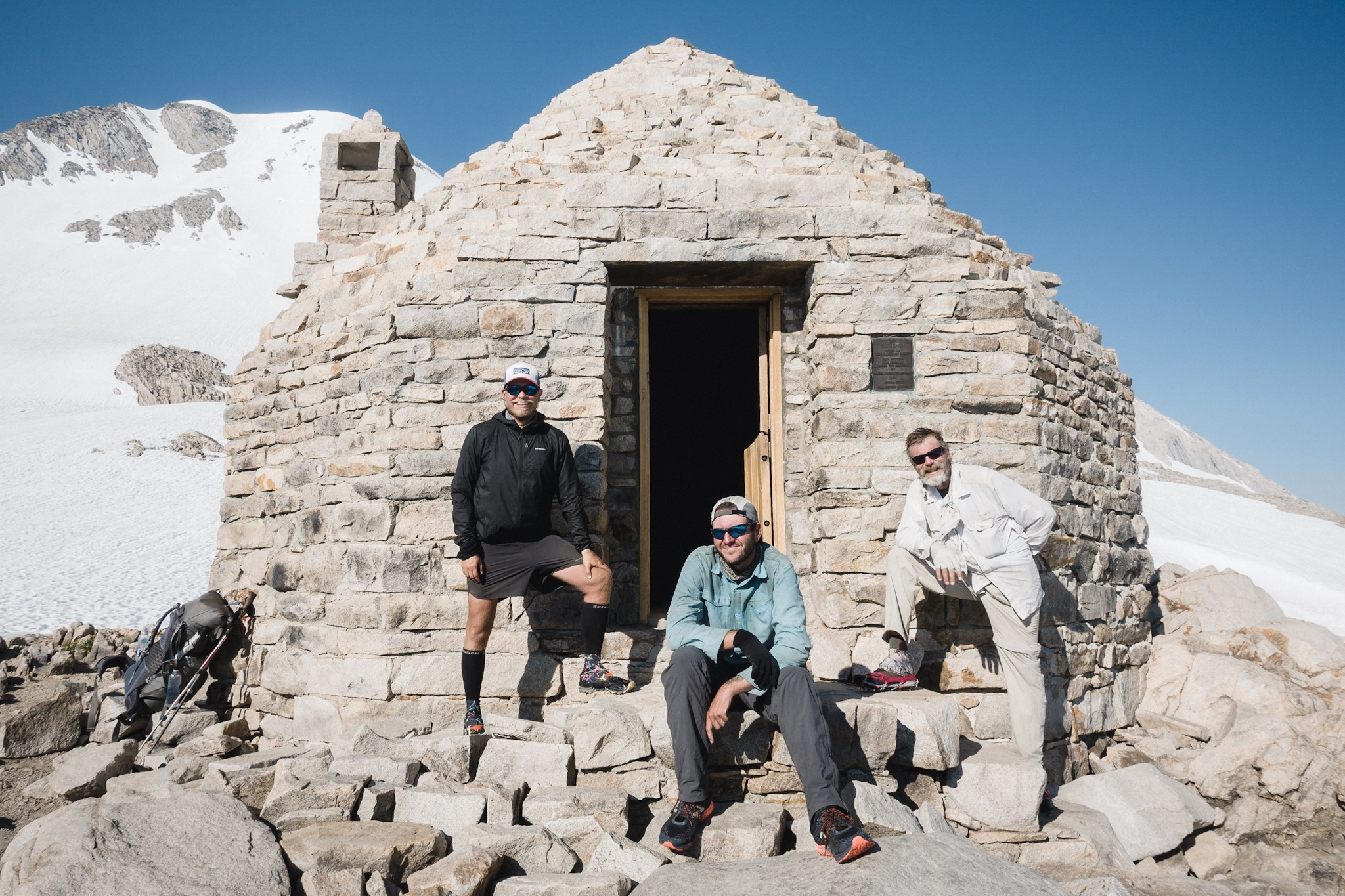 The author, DG, and Topo at the Muir Hut.