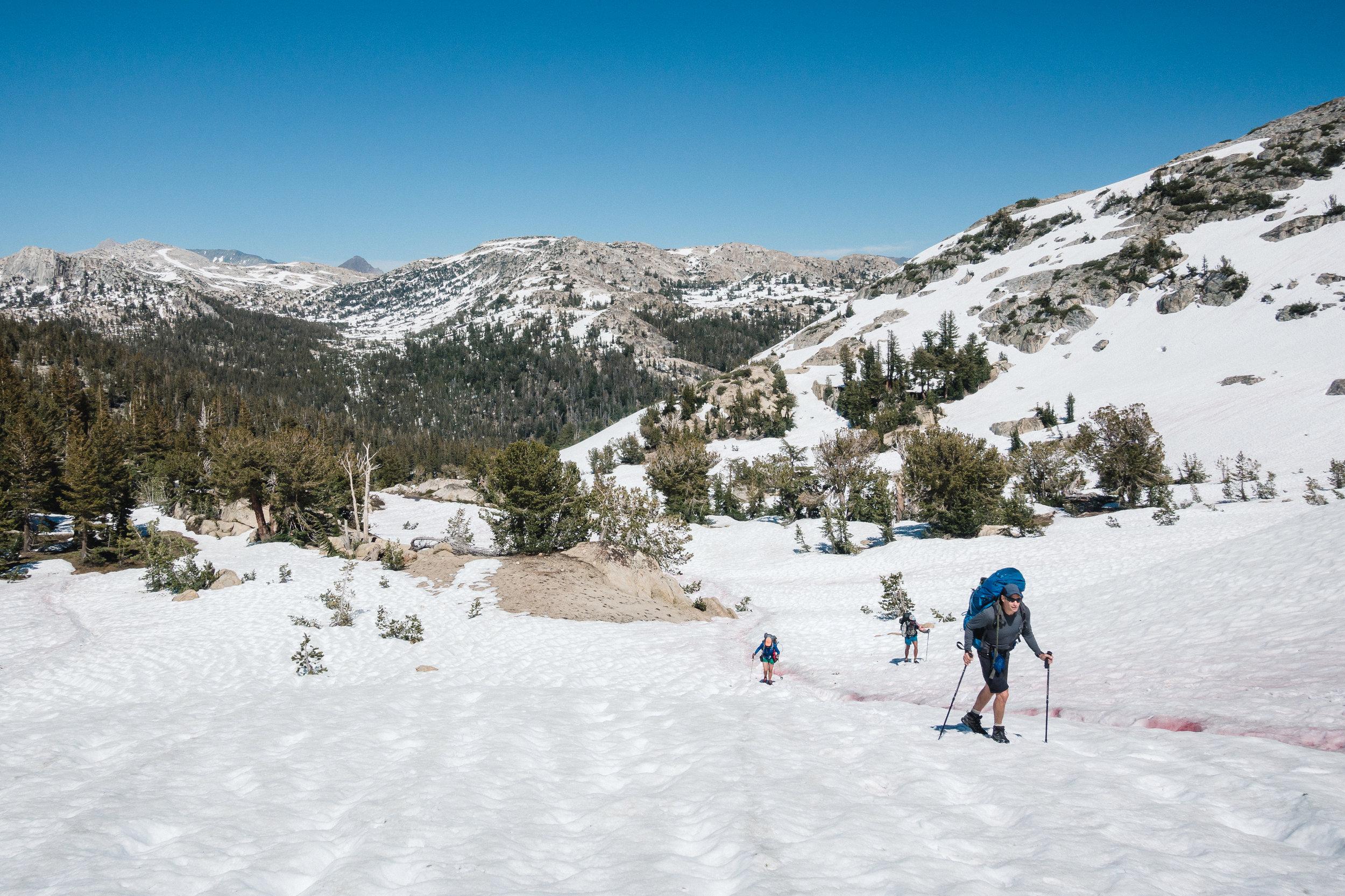 Climbing a snowy pass.