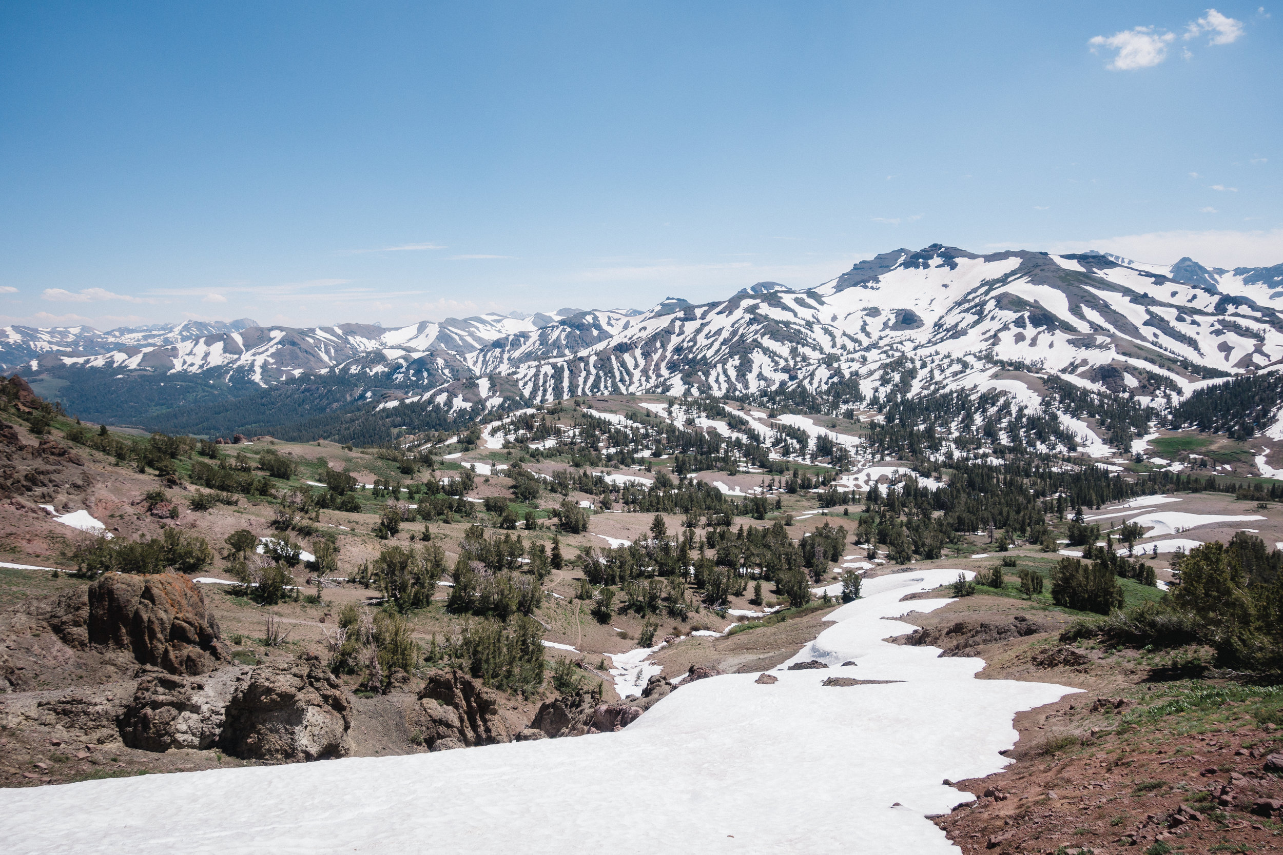 Looking down towards Sonora Pass (see the trail in the center).