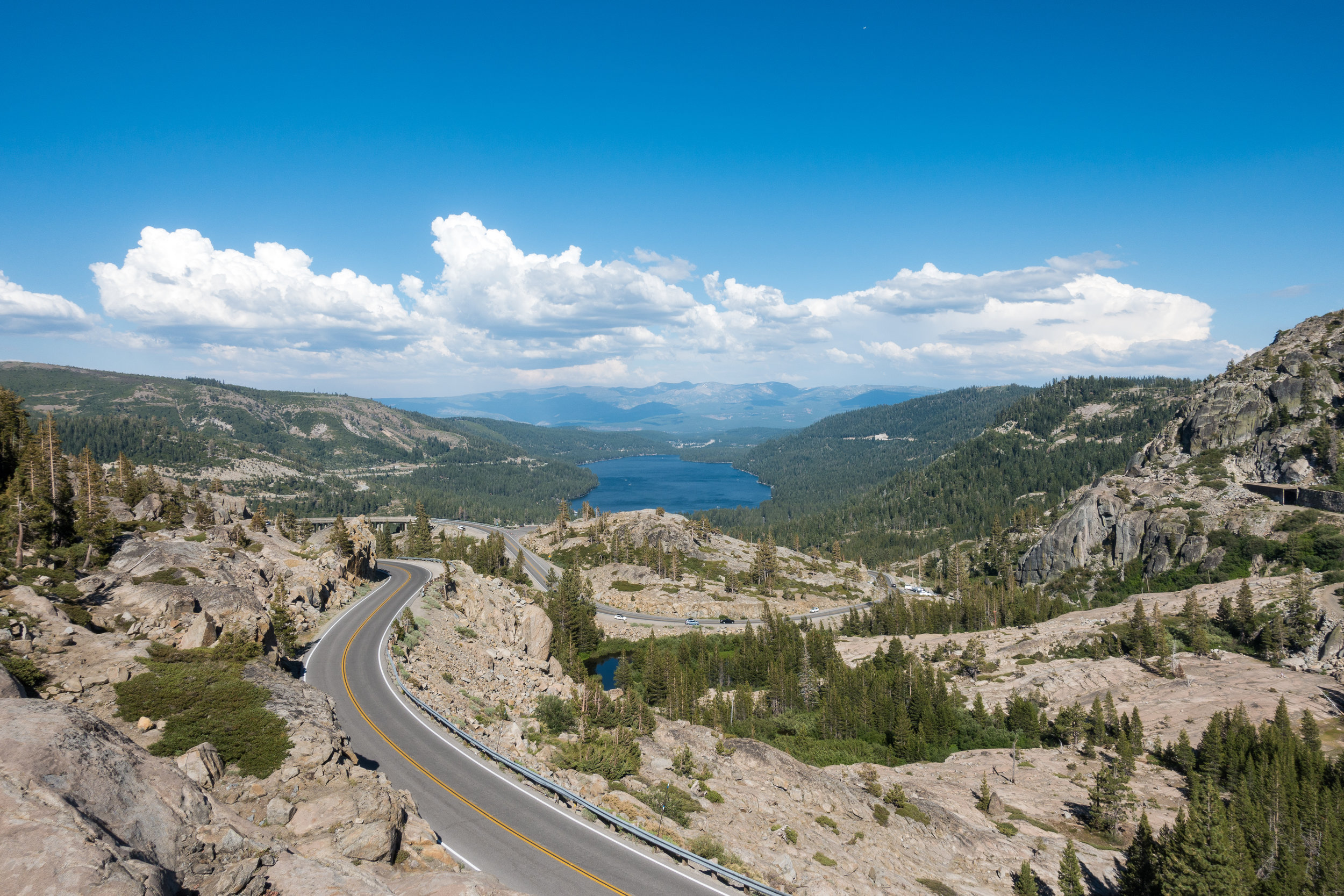The highway at Donner Pass.