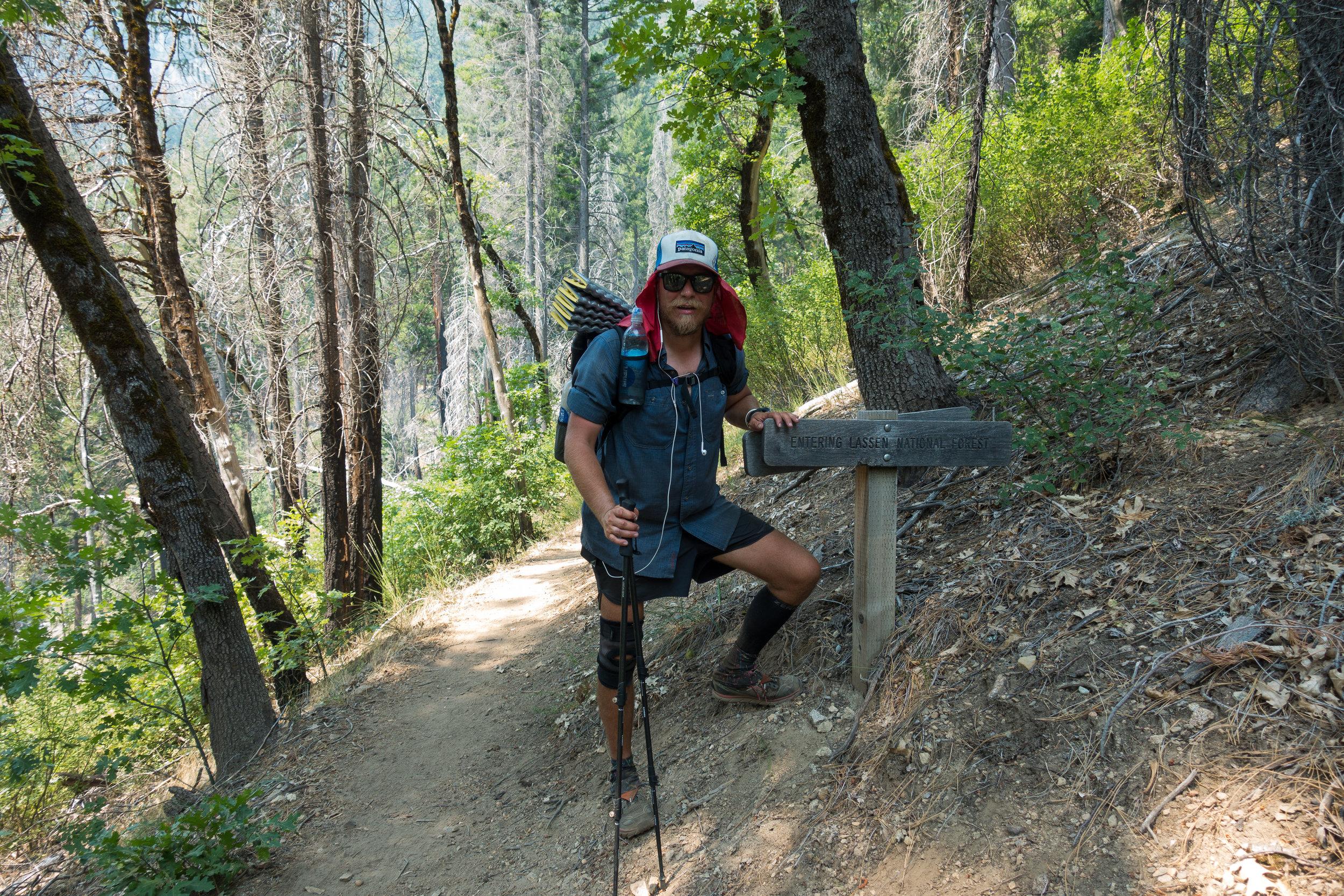 Author entering Lassen National Forest.