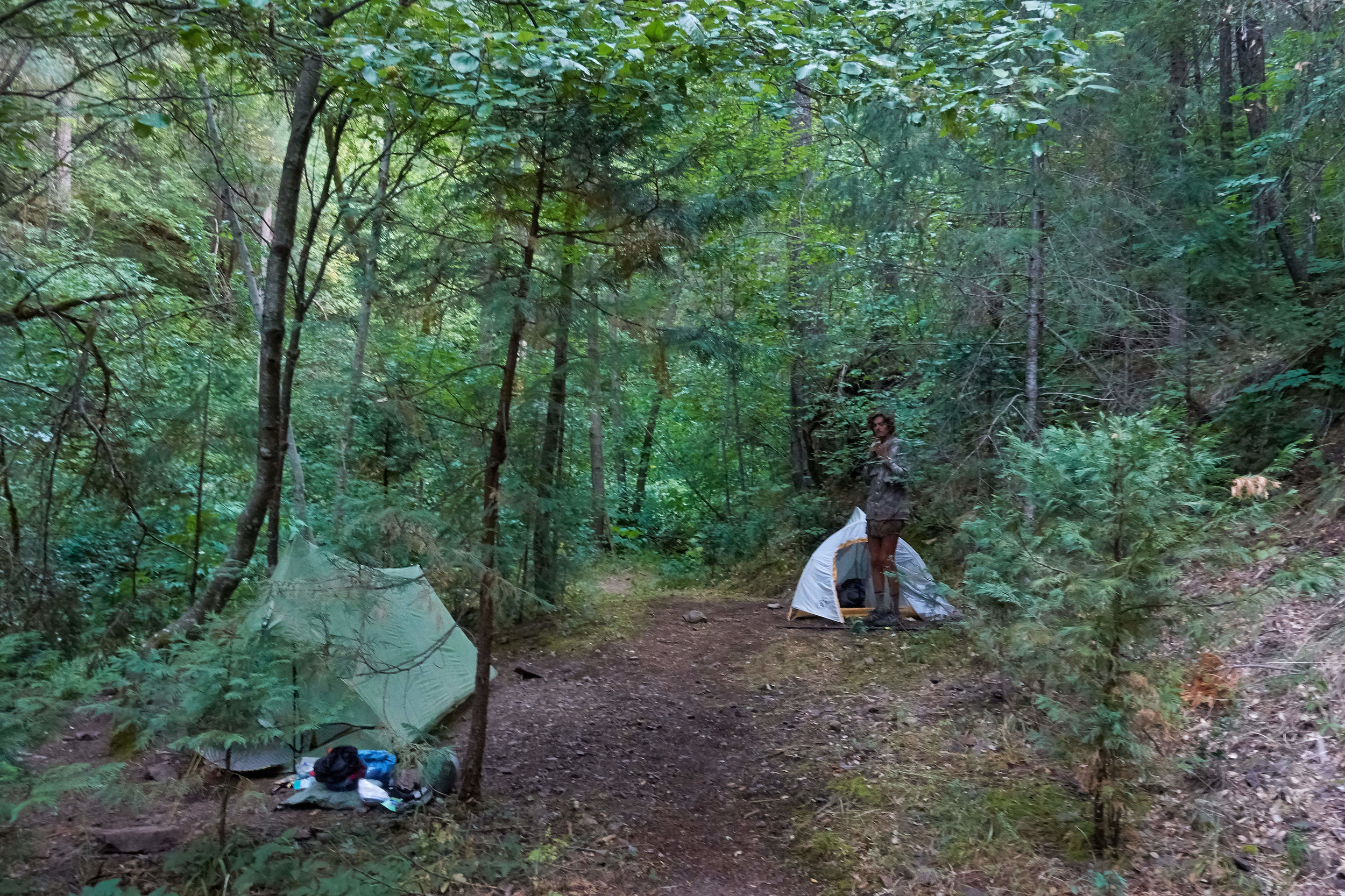 You're supposed to camp at least 200 feet (60m) from the trail but sometimes it's not possible.