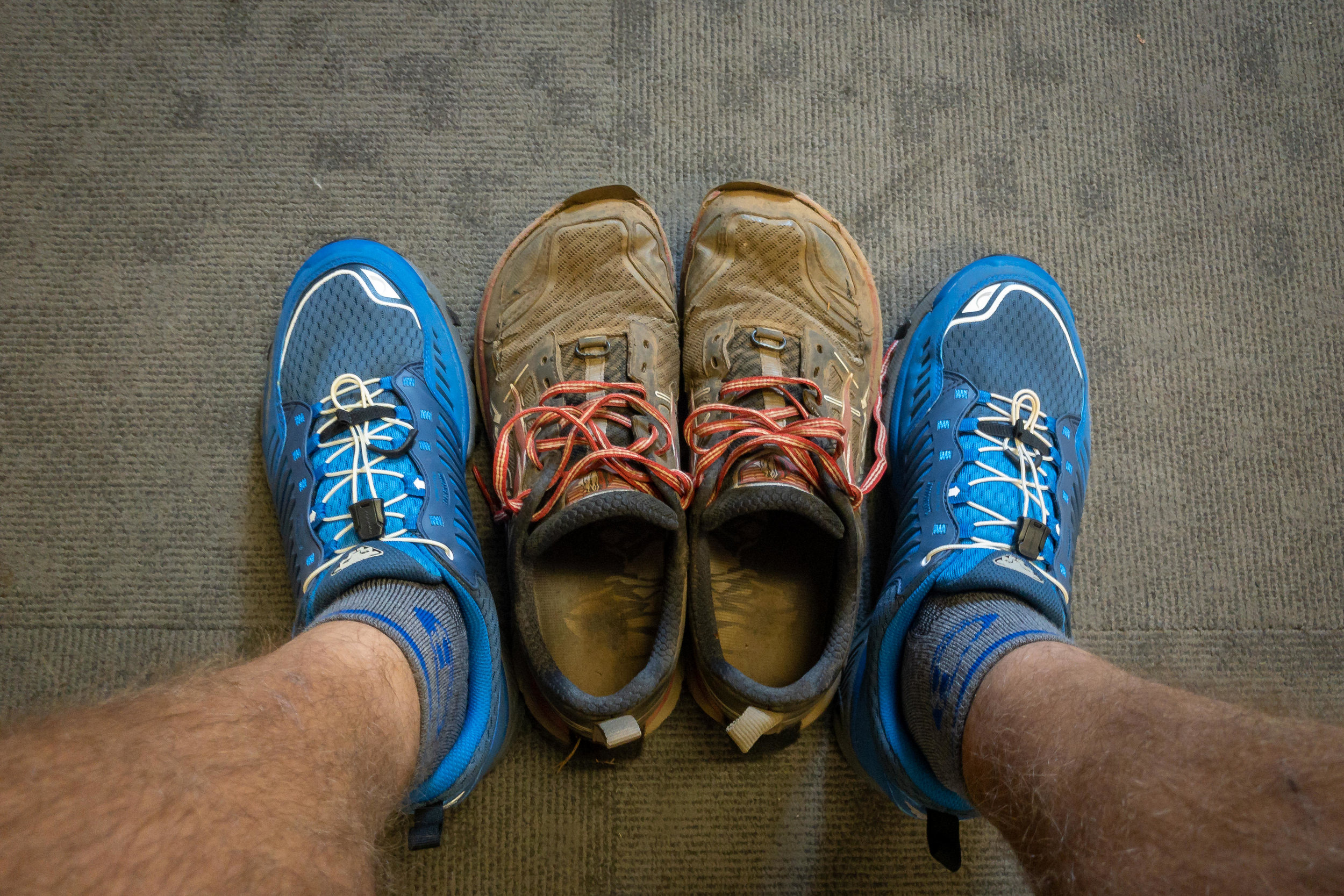 New vs old shoes.