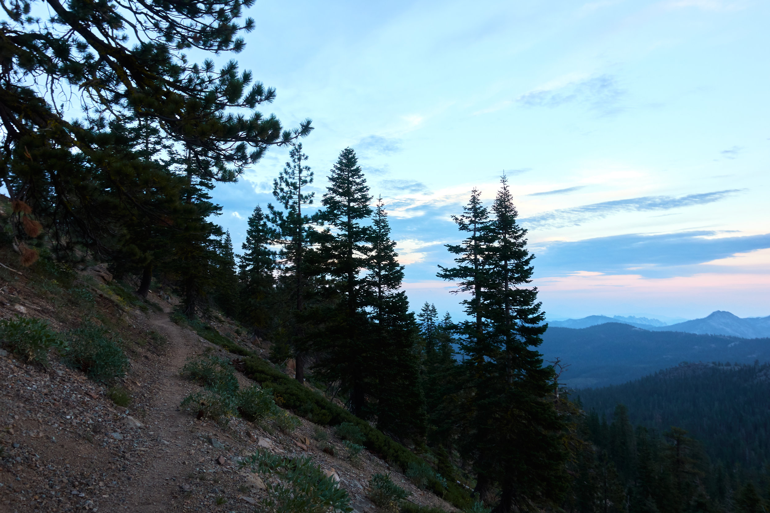 Climbing while the sun sets.