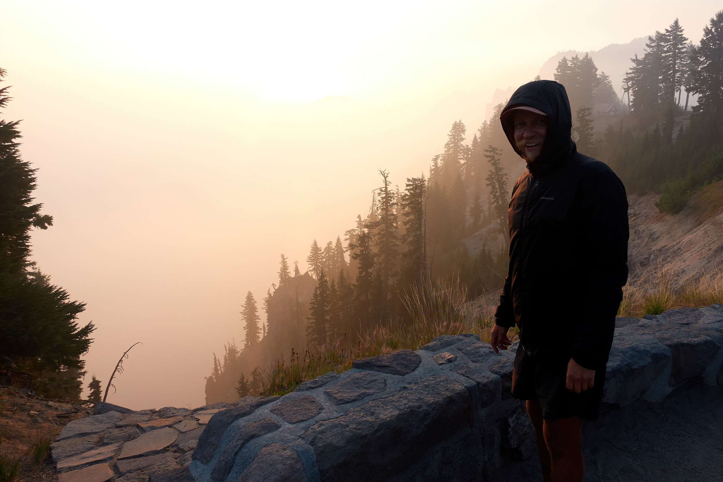 The author trying to locate the lake in Crater Lake.