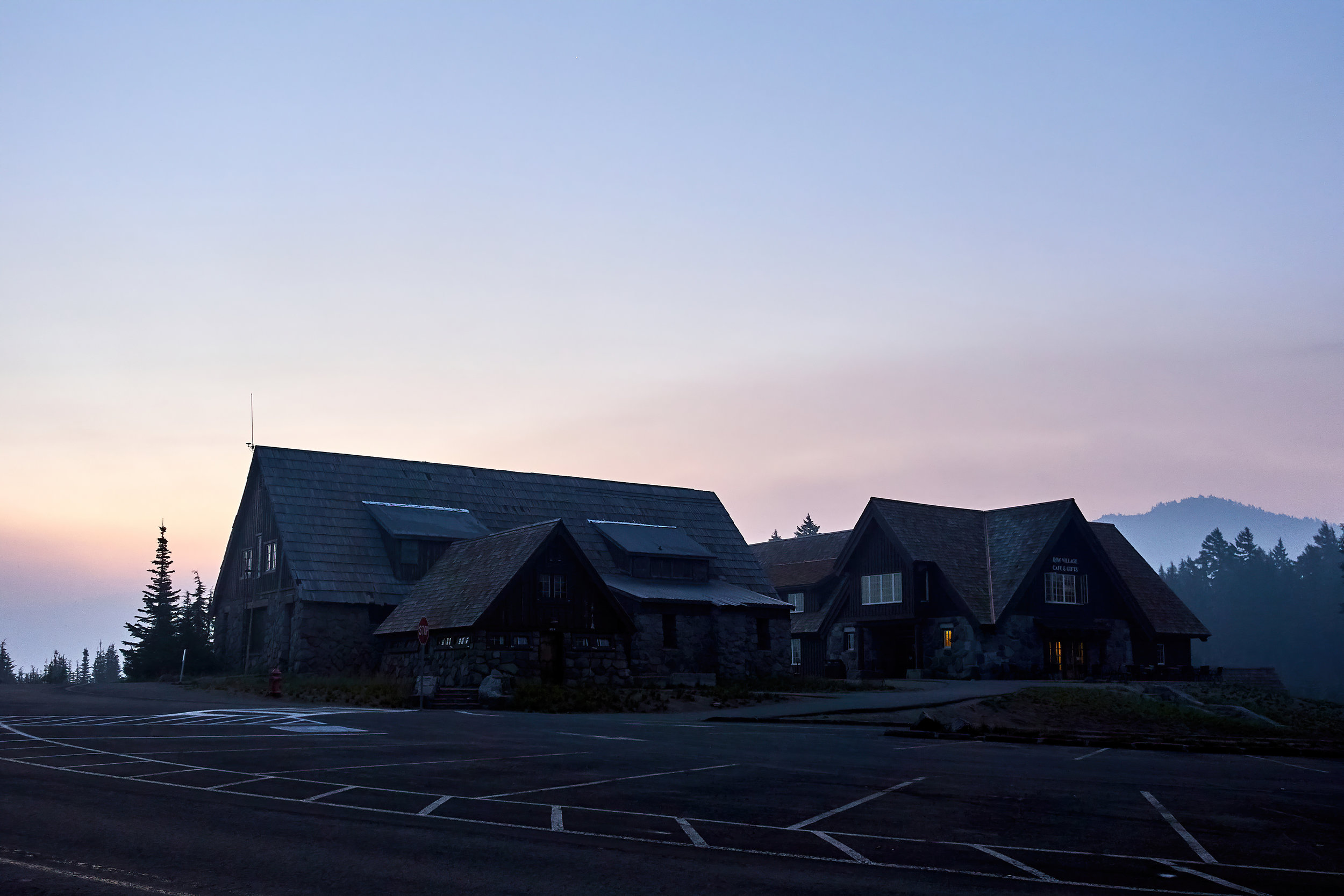 The Crater Lake visitor center in early morning light.