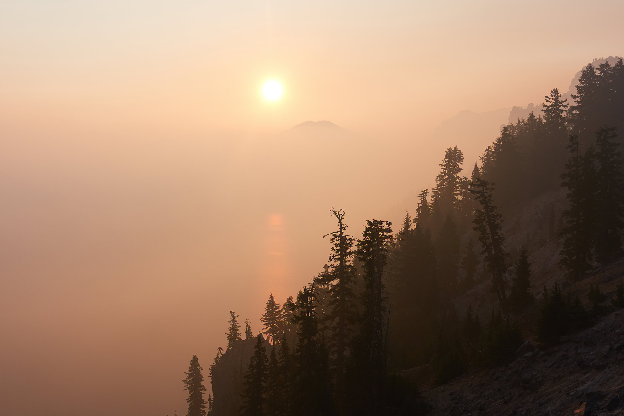 Sunrise over Crater Lake.