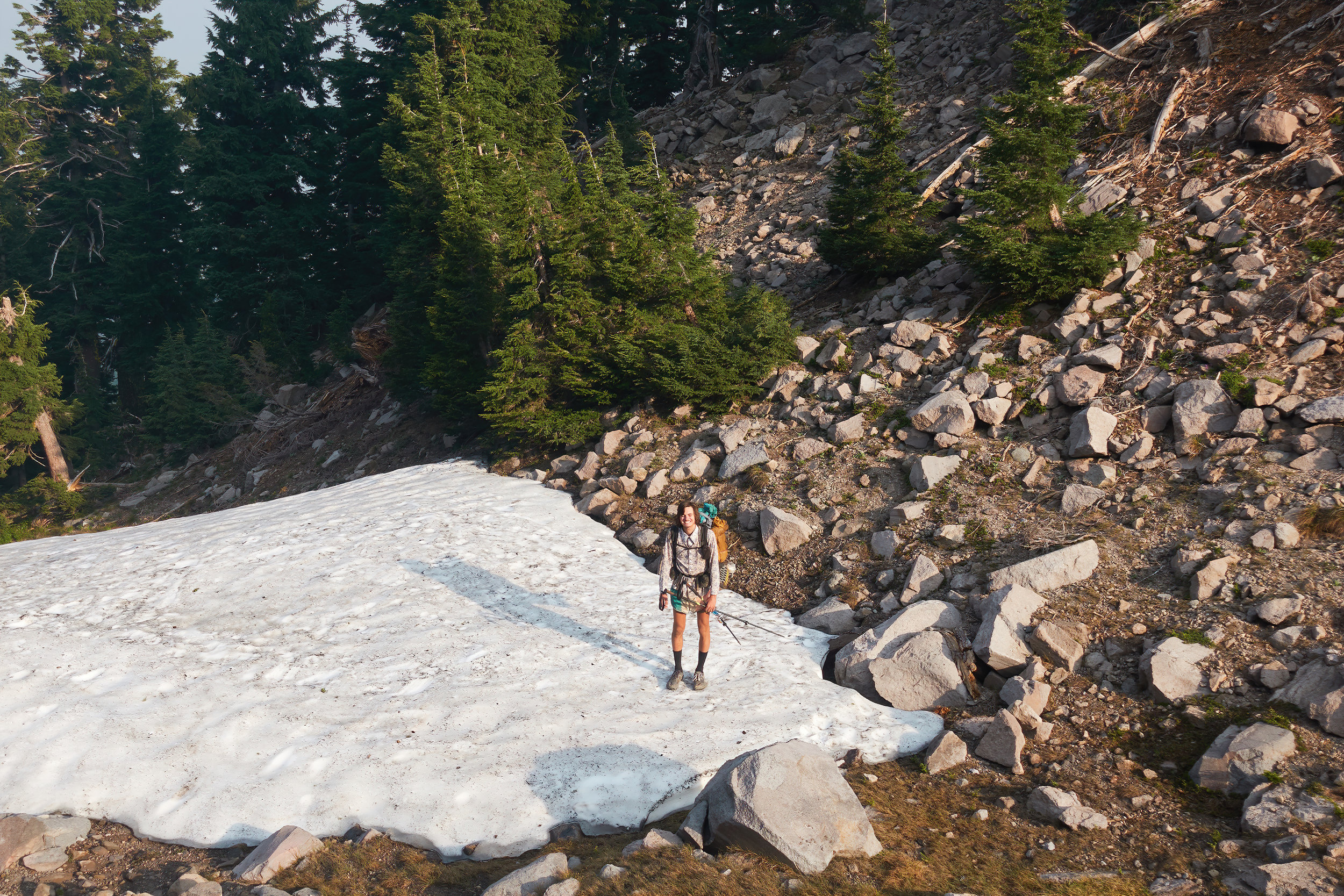 Sam wanted to stand on snow in every state along the PCT.