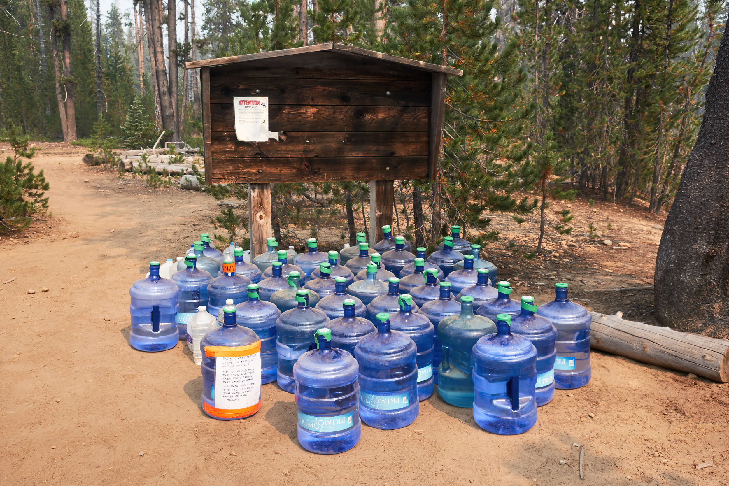 Water cache before a dry section.