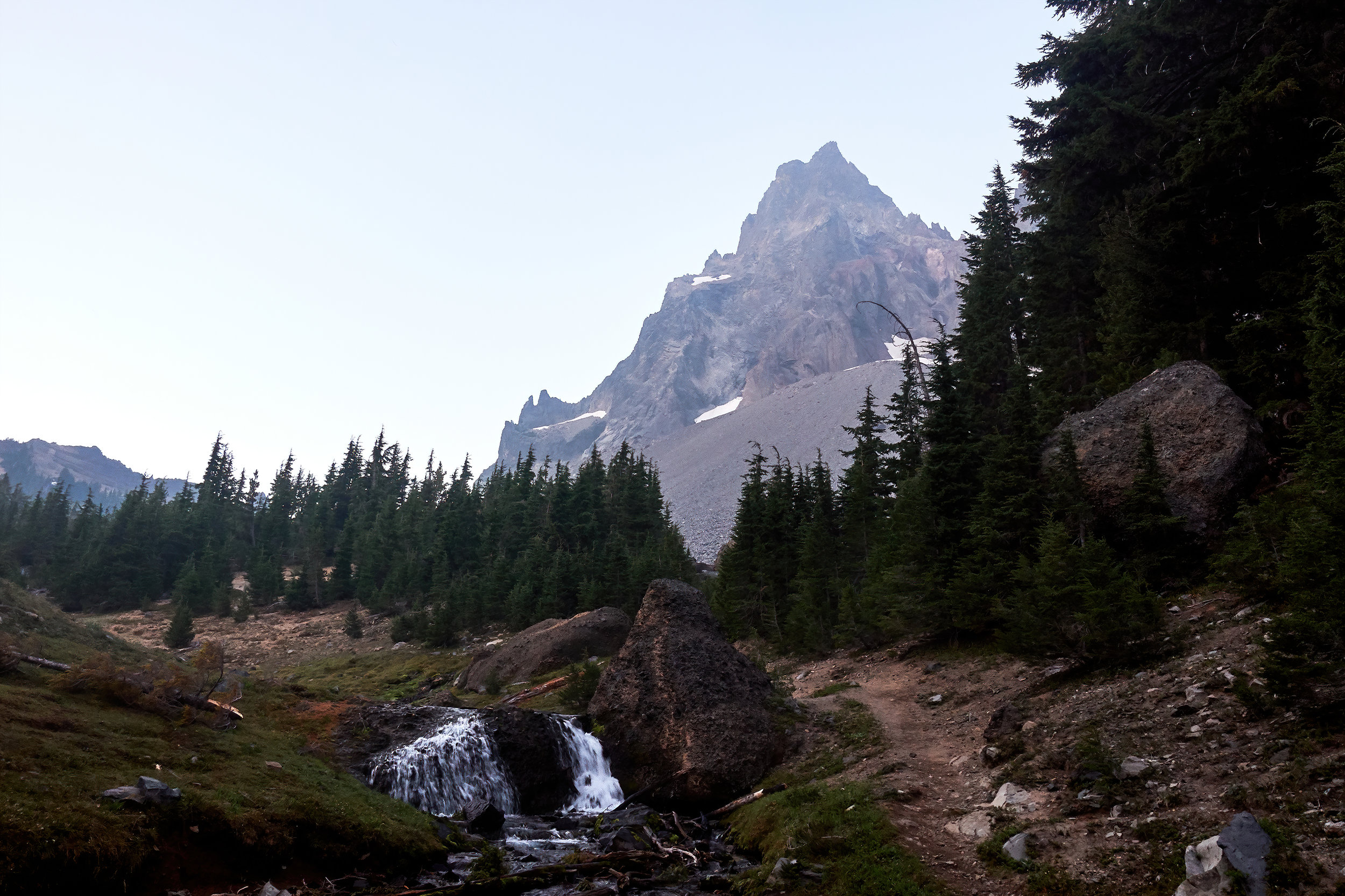 The creek with Mt. Thielsen in the background.
