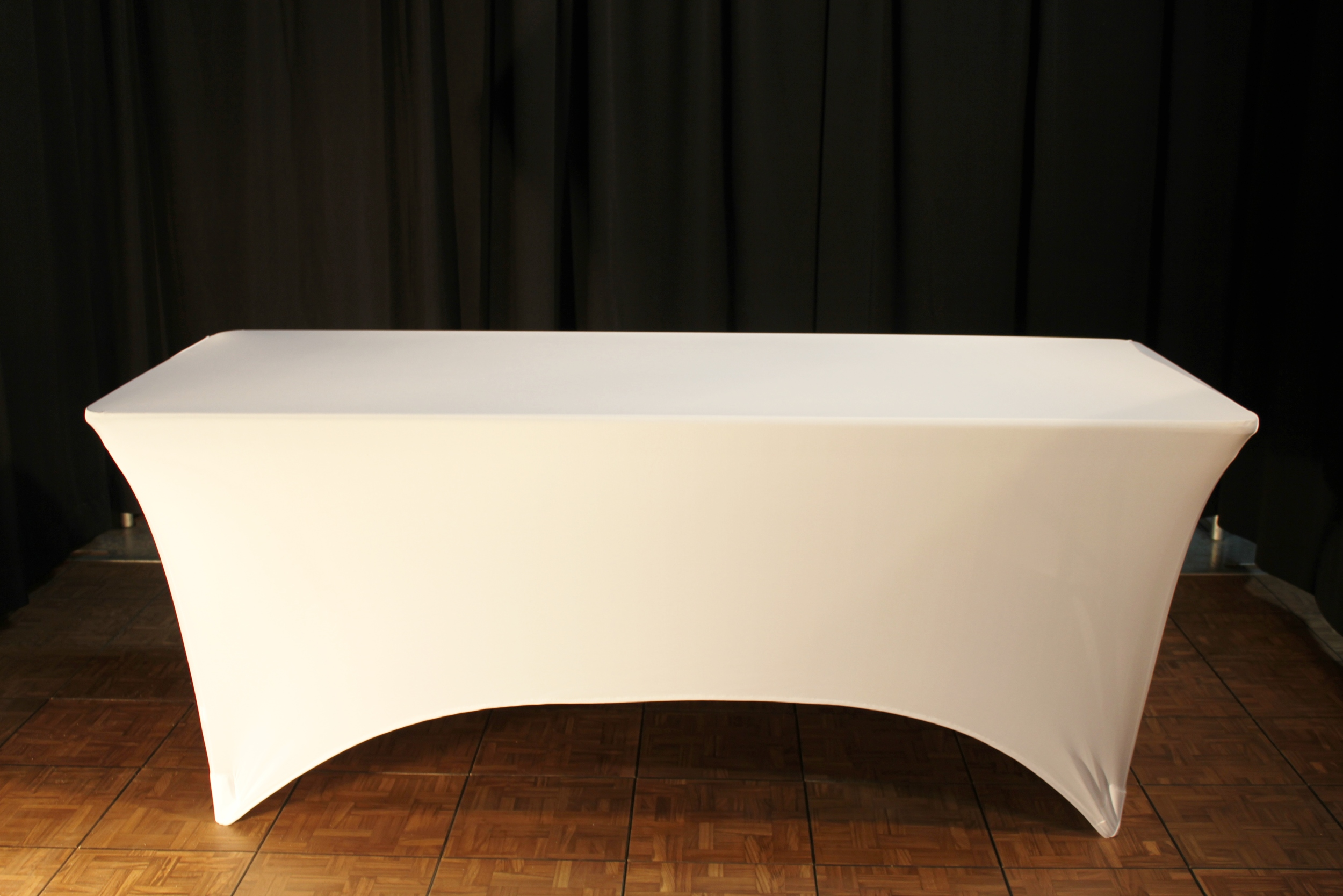 6ft rect table with stetch white linen.JPG