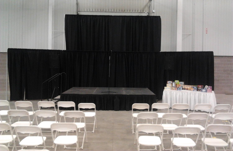 "Pipe And Drape   Black Drape $2.75 sq/ft  White Plastic Folding $ 2.25   Stage Decks - 4'x8' per section  24"" height$ 60.00"