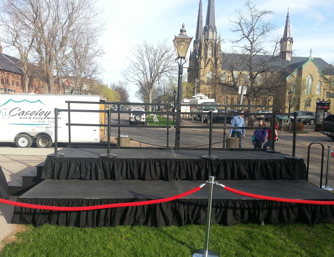 "Two Tier Staging   Stage Decks - 4'x8' per section      8"" height$  50.00  16"" height$ 55.00  24"" height$ 60.00  32"" height  includes Railings and Clamps $ 75.00"