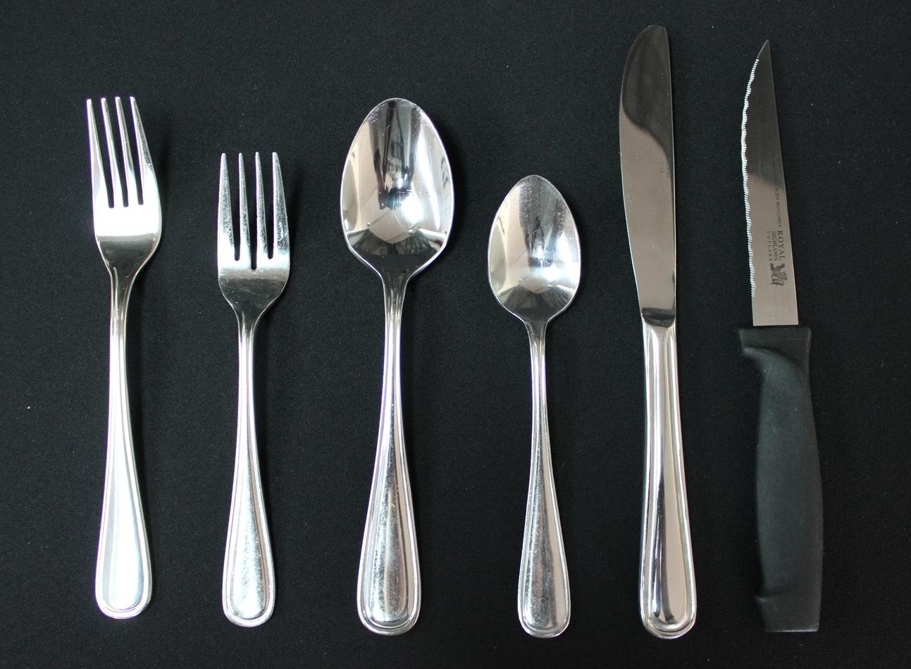 Cutlery (Oneida)  $0.50 Each  Dinner Fork, Salad Fork, Tablespoon, Teaspoon, Dinner Knife, Steak Knife